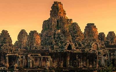 Sunset over Bayon Temple