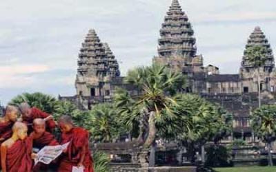 Novice monks at Angkor wat Temple