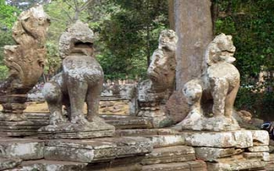 Temple Lion dogs guarding the Temple