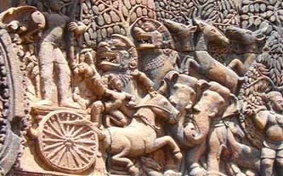 Stone relifes at Angkor wat