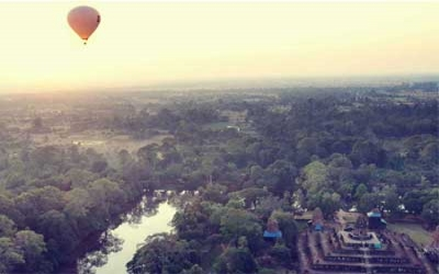 Hot air ballooning over Angkor city